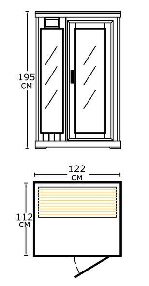 Размеры ИК кабины HELO HSI-20